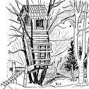 cabane en dessin au trait