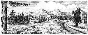 paysage de plaine et montagne image libre de droits